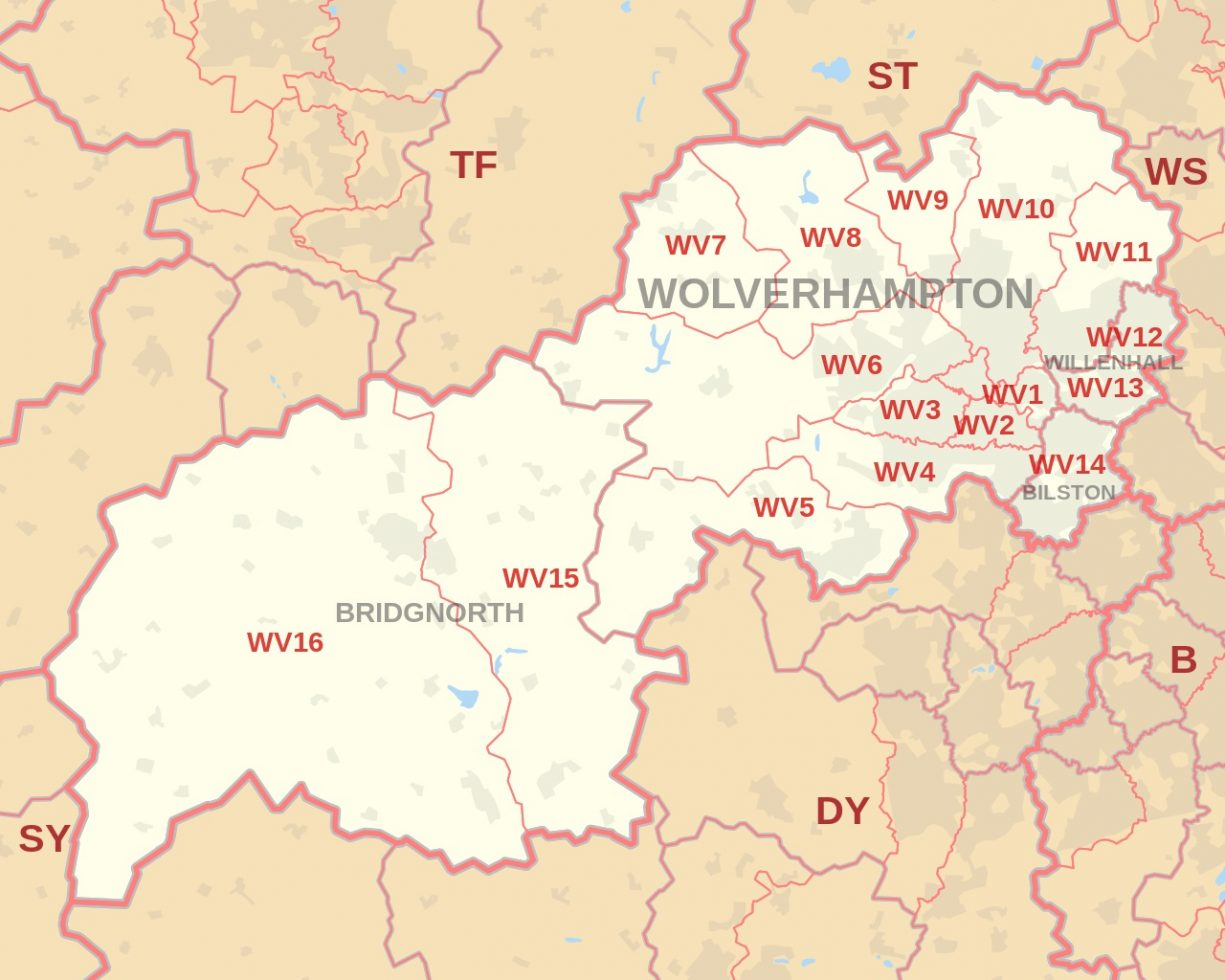 Wolverhampton and WV postcode area Map